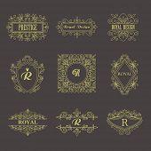 picture of monogram  -  Vintage Floral Frames for your Logo, Invitation, Monogram, Wedding Background,  Business Sign, Royalty Design. - JPG