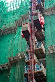 pic of elevator  - construction of cantilever floor with elevator lifts - JPG