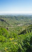 image of municipal  - Gran Canaria Valsequillo municipality view towards the villages from the hiking apth around Tenteniguada - JPG