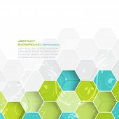 stock photo of hexagon pattern  - Abstract vector background with hexagonal and floral pattern - JPG