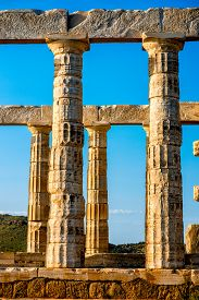 pic of poseidon  - Architectural fragments of Poseidon temple in Sounion, Greece ** Note: Soft Focus at 100%, best at smaller sizes - JPG