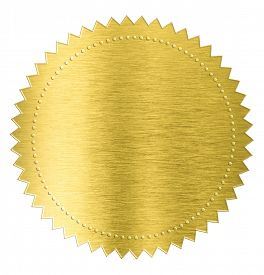 foto of gold medal  - gold metal foil sticker seal label isolated with clipping path included - JPG