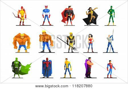 Superheroes in Different Poses and