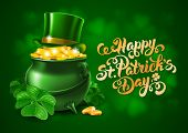 Saint Patricks Day Card with Treasure of Leprechaun, Pot Full of Golden Coins, Green Hat and Shamroc poster