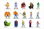 Постер, плакат: Superheroes in Different Poses and Costumes Vector Set