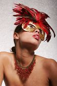 image of pouty lips  - Sexy girl with red mask - JPG