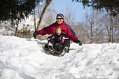 Snow Sledding family fun