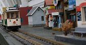 Model Trolley Car And Village