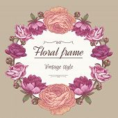 Постер, плакат: Vector floral card with wreath of peonies and persian buttercups