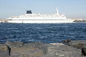 Big Ship In Bosporus. Turkey.