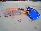 Wind Surf Board Lying On The Beach At Bintan, Indonesia