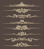 Calligraphic design elements, page dividers with thai ornament poster