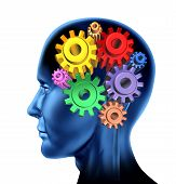 Picture of intelligence brain function mind with gears.