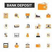Постер, плакат: bank deposit icons bank deposit logo bank icons vector bank flat illustration concept bank infog