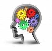 stock photo of neurology  - intelligence brain function gears cogs in motion neurology mental health medical symbol mind isolated - JPG
