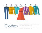 Racks with clothes on hangers. poster