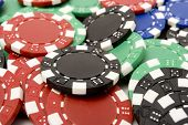 Colorful casino chips background