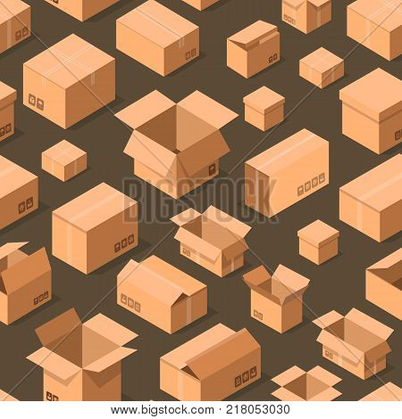 poster of Delivery packaging boxes seamless pattern. Postal design with empty opened and closed cardboard boxes vector illustration. Commercial delivery tare, goods package, shipping containers background.