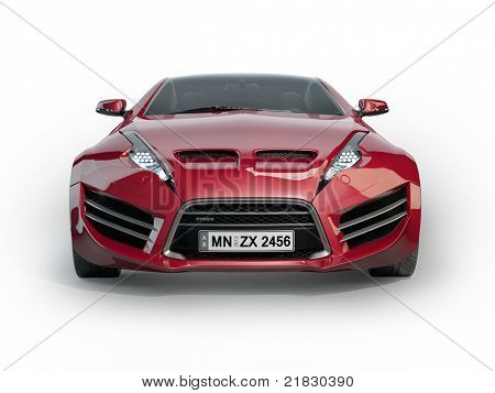 Red Sports Car Isolated On White Background. Non Branded Concept Car. Poster
