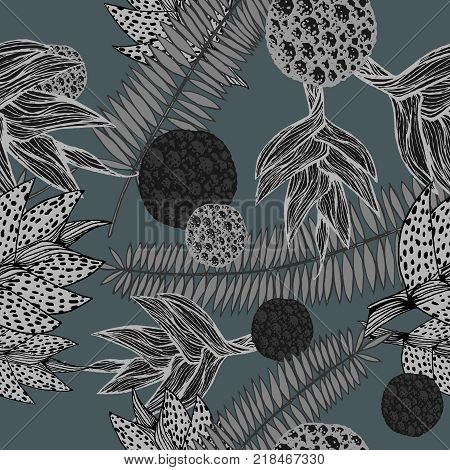 poster of vector illustration of a hand drawn seamless pattern with plants inspired by tropical botany in shades of grey