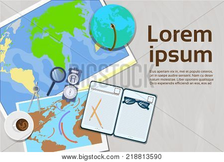 poster of Geography And Cartography Concept Top Angle View Of Workplace Template Banner With Copy Space Vector Illustration