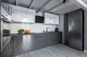 Contemporary Kitchenwith White Tiles poster