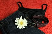 Tank top, skirt, belt and a white flower