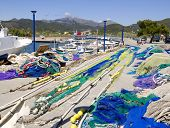 Fishing nets and tackle in Andratx port from majorca Balearic island