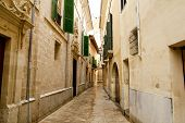 Barrio Calatrava Los Patios in Majorca at Palma de Mallorca narrow street