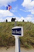 Utah beach with memorial statue in normandy france