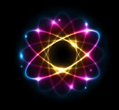 stock photo of proton  - Colorful Atom vector illustration - JPG