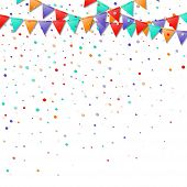 Bunting Flags. Great Celebration Card. Bright Colorful Holiday Decorations And Confetti. Bunting Fla poster