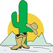 cowboy hat and boots with cactus in desert