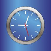 picture of tick tock  - blue metallic beveled clock face illustration - JPG
