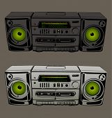 vector illustration cassette tape recorder with radio