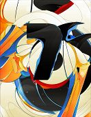 abstract forms, design elements, graffiti poster