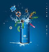 vector blue tin with a spray of liquid