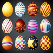 Painted Eggs designed for your Easter Day Decoration, vector isolated illustrations