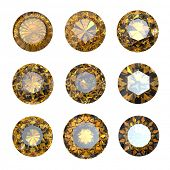 Set of round citrine isolated. Gemstonecut diamond perspective on white background