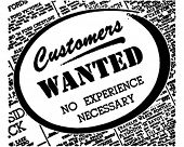 Customers Wanted - Retro Ad Art Banner