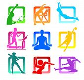 Colorful icons with fitness people silhouettes