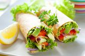 stock photo of sandwich wrap  - fresh  tortilla wraps with vegetables on the plate - JPG