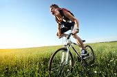 Young roaring man riding on bicycle through deep grass with exertion poster