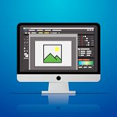 Graphic Photo Picture Editor Software Icon On Desktop Computer In Vector Flat Design Style poster