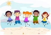 Illustration of Kids Jumping on the Beach