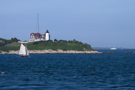 pic of cape-cod  - A bay view of the Nobska Lighthouse near Woods Hole - JPG