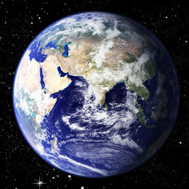 foto of eastern hemisphere  - The world seen from the east hemisphere set in space with litteraly millions of stars - JPG