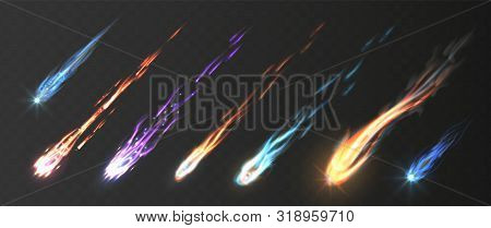 Comets And Meteorite Set. Vector Realistic Meteors And Fireballs With Fire Trails. Meteor Rain Vecto poster