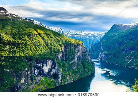 poster of Tourism Vacation And Travel. Beautiful View Over Magical Geirangerfjorden From Flydalsjuvet Viewpoin