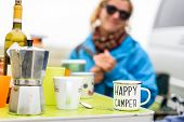 Woman Camping Travelling With Breakfast Mug And Happy Camper Text. Woman Drinking Coffee Or Tea From poster